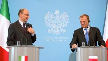 Il Presidente del Consiglio, Enrico Letta, nella conferenza stampa tenuta a Varsavia al termine dell'incontro con il premier polacco Donald Tusk