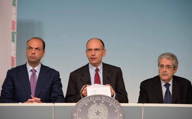 Conferenza stampa del Consiglio dei Ministri con Letta, Alfano e Saccomanni