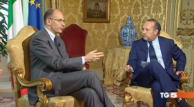 Enrico Letta intervistato da Clemente Mimun per Tg5 Punto Notte