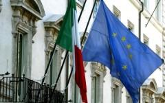 Bandiere Italia e UE a Palazzo Chigi