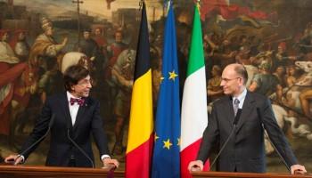 I premier di Italia e Belgio, Enrico Letta e Elio di Rupo, a Palazzo Chigi