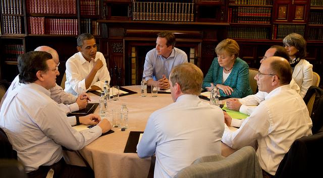 Ol Presidente Enrico Letta al round table del G8 in Irlanda del Nord