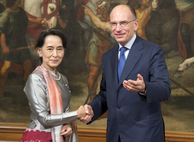 Letta incontra il Premio Nobel per la pace Aung San Suu Kyi