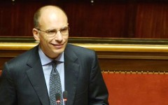 """Italy's Prime Minister Enrico Letta delivers a speech on October 2, 2013 at the Senate before today's confidence vote at the Parliament. Enrico Letta warned lawmakers ahead of a crucial vote of confidence today that the country ran a """"fatal"""" risk as Silvio Berlusconi tries to topple his government. """"Italy runs a risk that could be a fatal risk. Seizing this moment or not depends on us, on a yes or a no,"""" Letta said in his address.  AFP PHOTO / FILIPPO MONTEFORTE"""