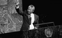 Nelson Mandela, Deputy President of the African National Congress of South Africa, addresses the Special Committee Against Apartheid in the General Assembly Hall. 22/Jun/1990. UN Photo/P Sudhakaran. www.unmultimedia.org/photo/