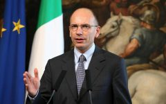 Enrico Letta during a press conference