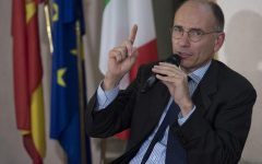 Former Italian Prime Minister, Enrico Letta, during his speech at the 15th Dialogue forum Italy-Spain in Rome, Italy, 02 October 2017. ANSA/MAURIZIO BRAMBATTI